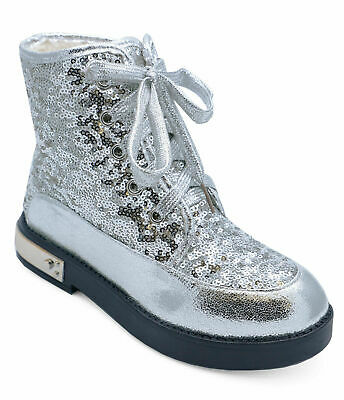 Girls Kids Sequin Dance Silver Lace-Up Ankle Boots Junior Childrens Shoes Uk 8-2