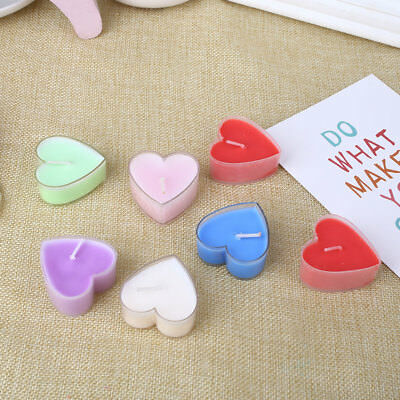 Wax Candle Gift Valentine'S Day Party Hotel Festival Heart Shape 6 Color 10pcs