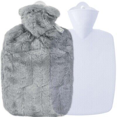 Hugo Frosch Hot Water Bottle With Soft Grey Cover Estravaganza 1.8L