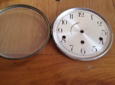 "Vintage Mantel Clock Glass 7"" Complete & In Good Condition (E)"