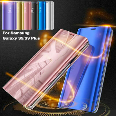 Flip Smart Case for Samsung Galaxy S9 Plus A8 2018 Clear View Mirror Stand Cover