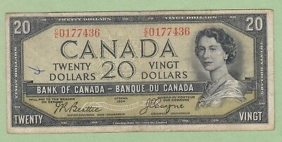 1954 Bank of Canada 20 Dollar Note Devil's Face - Beattie/Coyne - C/E0177436