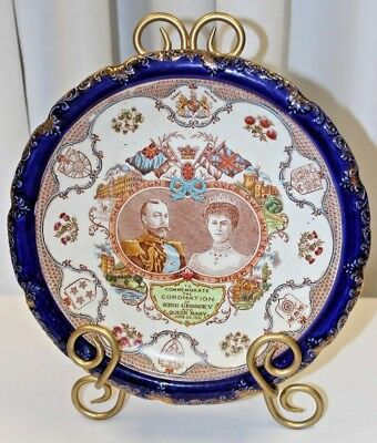 Antique  King George V & Queen Mary Coronation Plate 1911 Cobalt Blue Transfer