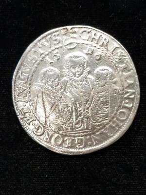 Germany Saxony Albertine 1596 HB 1 Thaler: 3 Brothers Holed/Repaired 12:00