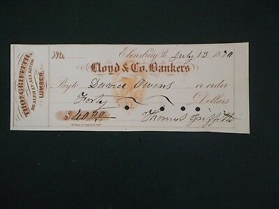 Lloyd & Co. Bankers. July 13, 1870. Ebensburg, Pa. Thomas Griffith. RN-H3
