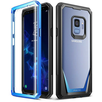 Poetic Samsung Galaxy S9 Rugged Case [Guardian] Clear Hybrid Bumper Cover Blue