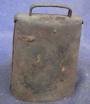 Large Antique Primitive Hand Forged Cow Bell Riveted Sheet Iron 7""