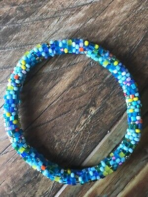 Roll On Glass Beaded Bracelet - Nepal Glass Bead 100% Handmade Bangle Gift