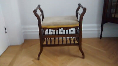 Adjustable Wood and Upholstered Piano Stool with storage~Victorian/Edwardian