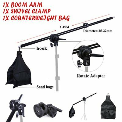 76-137cm Photography Studio Light Stand Boom Arm w/Counter-weight Bag Adjustable