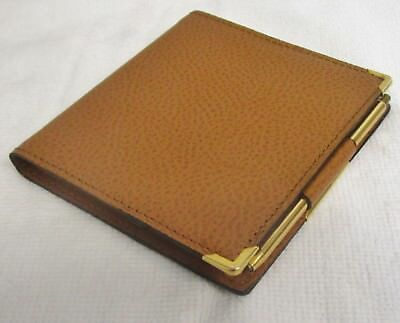 Exacompta Leather Address Book W mechanical pencil 3 3/4  x 3 3/8 Camel 13169