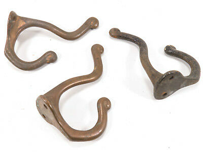 Lot of 3 Antique Cast Iron Double Coat Hat Hooks Schoolhouse RECLAIMED Hardware