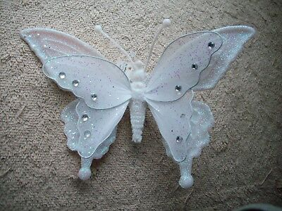 Clip On -  Ornament - Beautifulwhite Sequin Butterfly