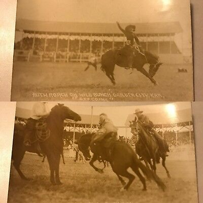 2 Real Photo Postcards - Cowgirls In Rodeo