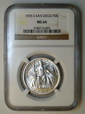 1935-S San Diego Pacific Exposition Commemorative Silver Half Dollar Ngc Ms 64