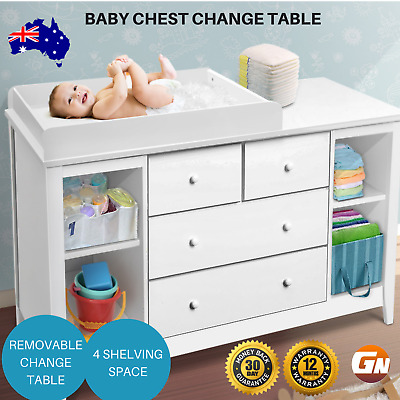 Baby Change Table Drawers Chest Home Cabinet Changer Nursery Furniture White