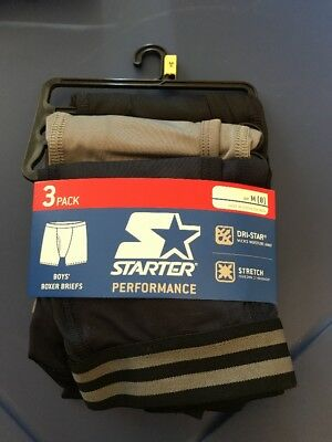 NEW Starter Boys 3 Pack Performance Athletic Boxer Briefs Size Med (8)