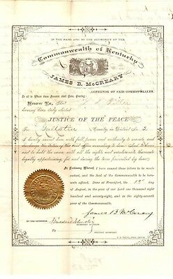 KY Gov. James McCreary 1878 signed commission, Major 11th KY Cavalry CSA, raider