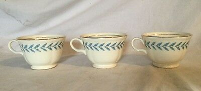 Vintage Antique Edwin Knowles China Blue Laurel Lot 3 Cup Coffee Tea Mug 1948