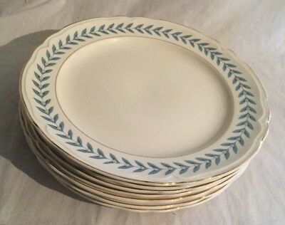 Vintage Antique Edwin Knowles Blue Laurel Lot of 8 Dinner Plate Plates 1948