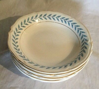Vintage Antique Edwin Knowles Blue Laurel Lot of 7 Soup Bowl Bowls 1948