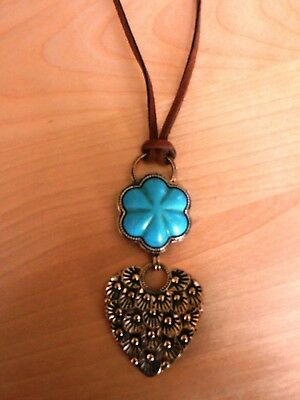 BARSE Bronze and Leather and Turquoise Howlite Flower Pendant Necklace MSRP $78
