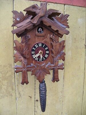"Clock Cuckoo 9 1/2"" X 7"" + Weight  And  Chain"