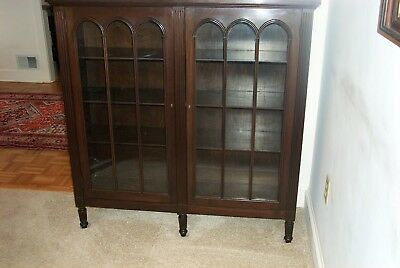 Antique late 1800 solid Mahogany (2) door cathedral bookcase Excellent