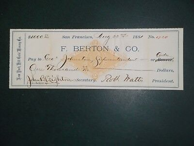 F. Berton & Co. Aug. 22, 1881. San Francisco, Ca. New York Hill Gold Mining Co.