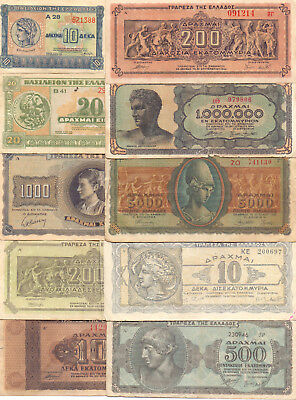 Greece  - 10 Different Greek Banknotes (Lot-22)