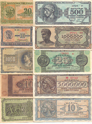 Greece  - 10 Different Greek Banknotes (Lot-6)