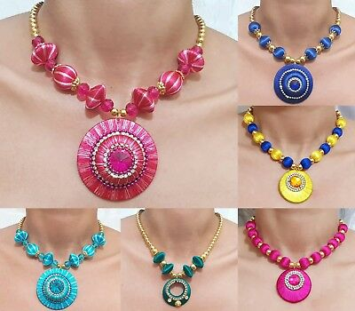 Indian Necklace Set Jewellery Earrings Silk Thread Wrapped Designer Pendant New