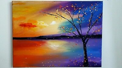 Lee Reed Art 16X12In-Sunset And Tree-The Lakes- New Art-Original/acrylic Oil Art