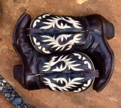 VINTAGE 1950-60s JUSTIN COWBOY BOOT PEEWEE WESTERN INLAY SHORTY ROCKABILLY W 8.5