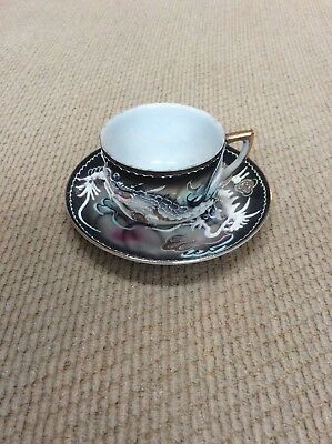 Vintage Victoria China Hand Painted Dragon Ware Tea Cup And Saucer Moriage