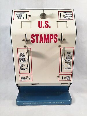 Vintage Coin-Op Countertop US Postage Stamp Vending Machine w/Key 1940's