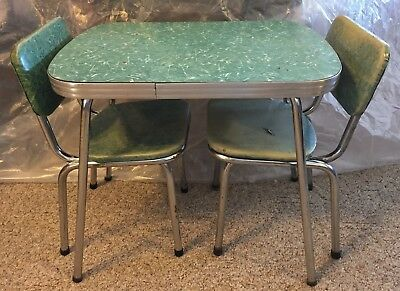 Child's Vintage Chrome & Formica Table w/2 Chairs