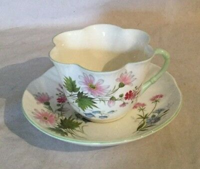 Crown Staffordshire Teacup Saucer Wild Flowers Fine Bone China England Tea Cup
