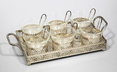 Vintage silver plate set two-handle tray 6 glass cups in holders podstakannik