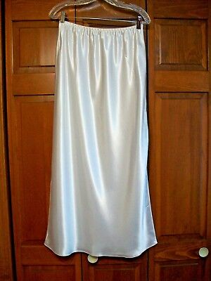 New Farr West Formal Length Long Pure White Gloss Satin Half Slip~Xl~Side Slit~