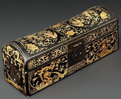 Chinese Qing Dynasty Gilt Inlaid Lacquer Pillow Box