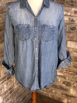 Wendy Bellissimo Maternity Womens Denim Button Down Shirt Size Small