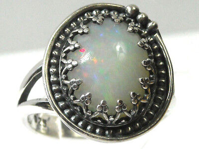 925 Sterling Silver Ring Size 10 Big 14mm Solid Natural Fire Opal Handmade NEW