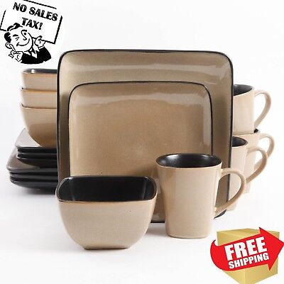Kitchen Dinnerware Set 16 Piece Stoneware Square Dinner Dishes Plates Bowls  Mugs