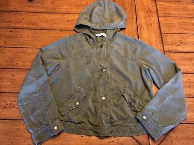 Abercrombie Kids XL Army Green Hooded Soft Brushed Cotton Spring Jacket