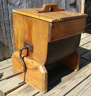 Antique Primitive 19th Century Table Top Wooden Butter Churn