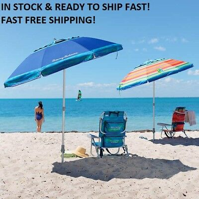 TOMMY Bahama 7' Beach Umbrella w/ Tilt MULTI-COLOR OR BLUE   FAST FREE SHIPPING!