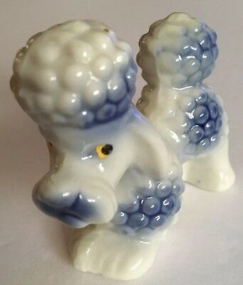 Vintage Blue Poodle Figurine Porcelain Japan Bubble
