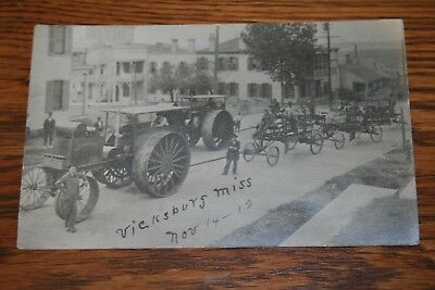 1912 Flour City Tractor Real Photo Postcard Vicksburg Miss