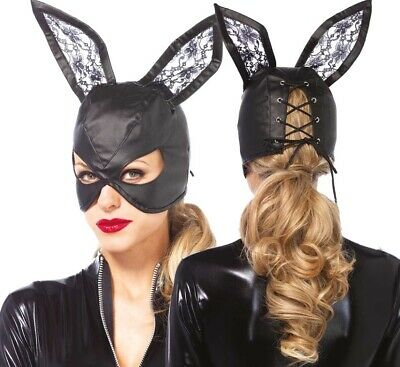 Leg Avenue Fetish Black Bunny Lace Ears Rabbit Faux Leather Mask Fancy Dress O/S